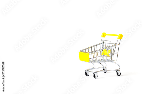 ff22d41fcd Shopping cart trolley basket is empty isolated on white background ...