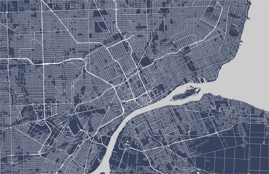 map of the city of Detroit, Michigan, USA