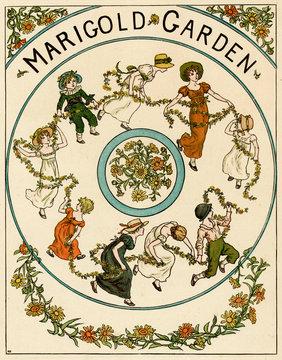 Illustration, Marigold Garden by Kate Greenaway