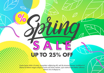 Spring sale banner.Trendy promo layout with gradient background,fluid shapes and geometric elements in memphis style.Sale poster perfect for prints, flyers,banners, promotion,special offer.
