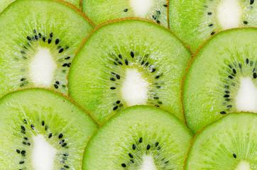Sliced ripe kiwi closeup, exotic fruit texture