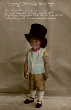 Little Boy in Large Top Hat on a Birthday Postcard