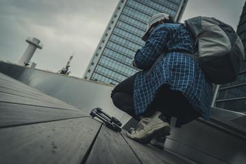man at rooftop