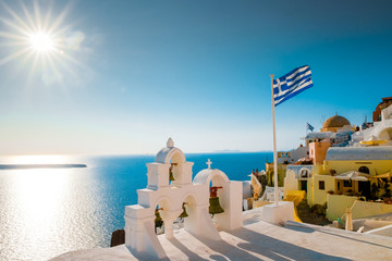 Santorini Greece Oia colourful bouldings at the village looking out over the caldera of Santorini with blue and white house