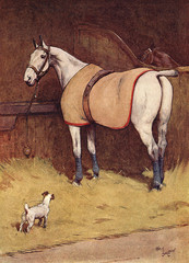 Illustration, Peter, the Fox Terrier, in the Stables