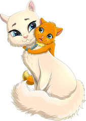 Charming white cat with orange kitten with blue eyes and bushy tail. Vector illustration of a cute angora cat and a red kitten isolated on white background. Kitten cartoon character hugs its mummy-cat