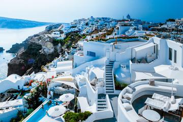 Santorini colorful town Oia with blue white Caldera Wall mural