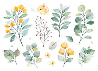 Watercolor green collection.Texture with greens,branch,leaves,yellow flowers,foliage.Perfect for wedding,invitations,greeting cards,quotes,patterns,bouquets,logos,Birthday cards,your unique creation. Wall mural