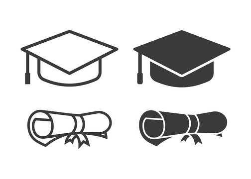 vector graduation cap and diploma icons
