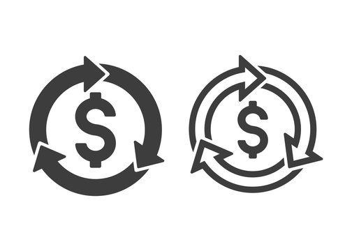 dollar symbol with revenue cycle icons filled and outlined