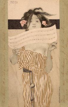 Raphael Kirchner Art Nouveau Holding Up Sheet Music