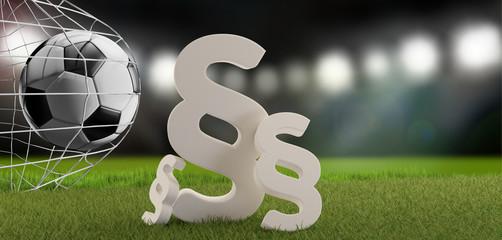 paragraph symbols bold letters at soccer stadium. goal under flood lights. 3d-illustration