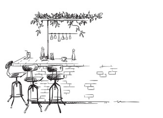 bar interior sketch, bar stand vector drawing