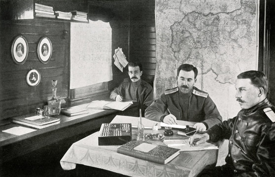 Ww1 Eastern Front Russian Staff Officers on a Train