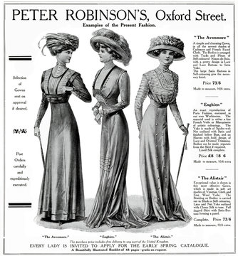 Advertisement for Peter Robinsons Womens Spring Dresses 1909