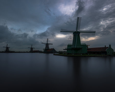 Sunrise at the windmills of Zaanse Schans, Netherlands