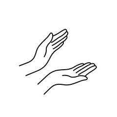 thin line woman hands like applause