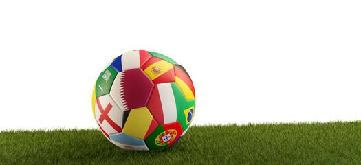 soccer ball with flag of Qatar. 3d-illustration