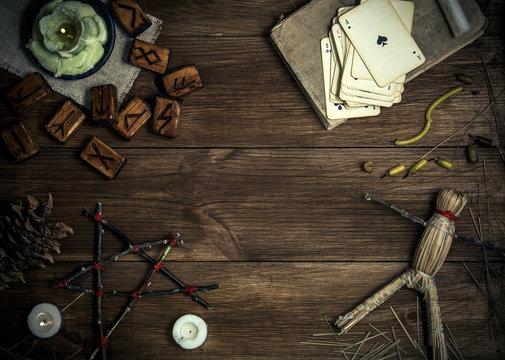 Rural still life with elements of pagan magic