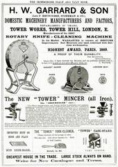 Advertisement for H W GArrArd Son Domestic Equipment 1889