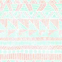 Seamless striped pattern. Ethnic and tribal motifs. Vintage print, grunge texture.Simple ornament. Handmade. White, pink and blue colors. Vector illustration.