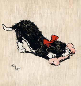 Illustration by Cecil Aldin, the Black Puppy Book