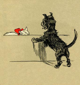 Illustration by Cecil Aldin, the White Kitten Book
