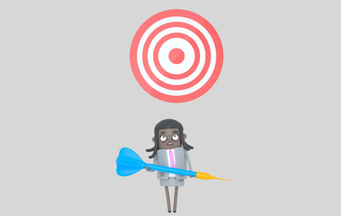 Business black woman holding a big blue dart. Dartboard. Isolated.