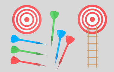 Dartboard and darts. Ladder. Isolated.