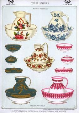 Toilet Services, English Stoneware, Plate 56