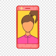Photos girls in mobile icon in cartoon style isolated on background for any web design