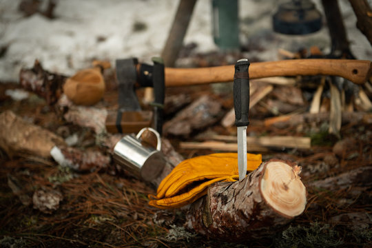 Camping, Bushcraft in the woods