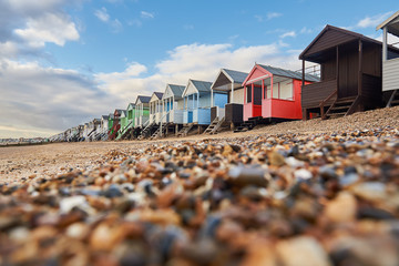 Colorful cottages on the beach in Southend Fototapete