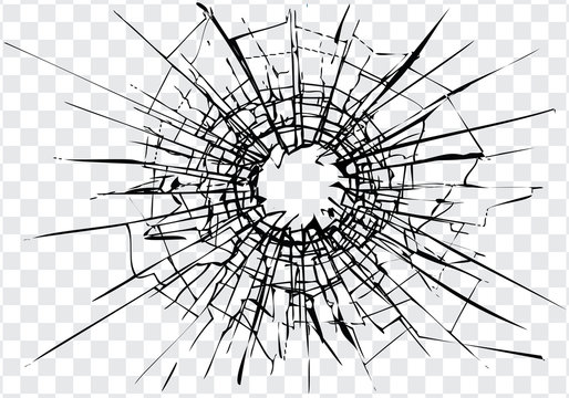 Broken glass, cracks, bullet marks on glass. High resolution. Texture glass with black hole. You can easy change colors or sizes. Only commercial use