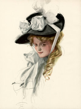 Attractive Woman Wearing Bonnet 1906