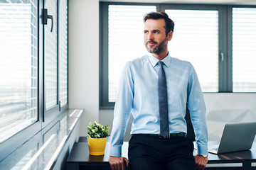 Successful businessman looking throught the window in modern office