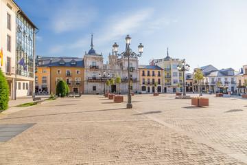 Ponferrada, Spain. Plaza Mayor and Baroque City Hall