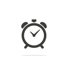 Monochrome vector illustration alarm clock icon isolated on white background.