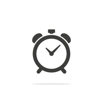 Monochrome vector illustration alarm clock icon isolated on white background.