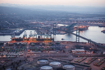 Aerial view of Port of LA in Long Beach, California. Port of Los Angeles is one of the largest water transportations systems in the World. Wall mural