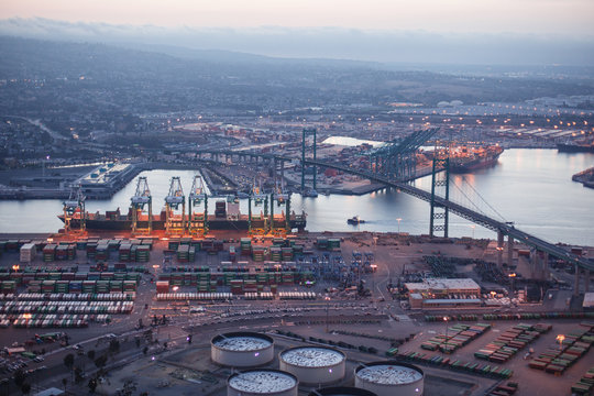 Aerial view of Port of LA in Long Beach, California. Port of Los Angeles is one of the largest water transportations systems in the World.