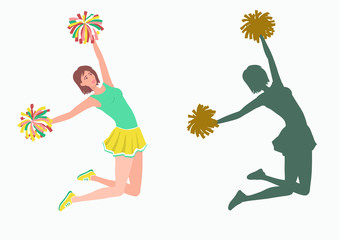 Cheerleader with pom-poms and her silhouette on white background.