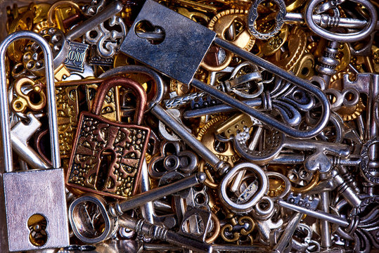 Set of vintage keys and locks close-up.