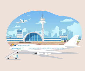 Airliners Waiting And Takeoff In Airport Vector
