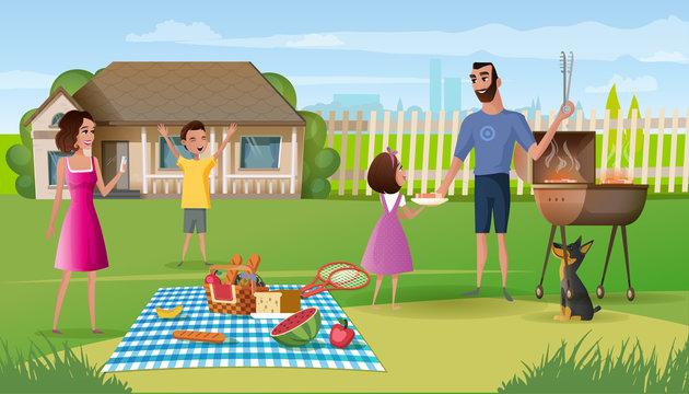 Family picnic on country house yard cartoon vector