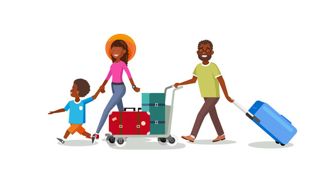 Traveling Family with Baggage Cart Cartoon Vector