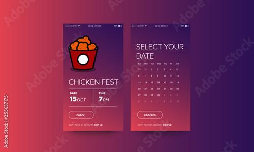 Fried Chicken Festival Ticket Booking App Interface Design