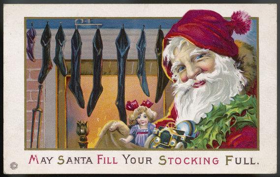Father Christmas and Christmas Stockings