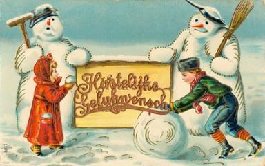 Two Dutch Children with Two Snowmen