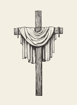 Crucifix, cross and shroud hand drawn. Religious sign. Sketch vector illustration